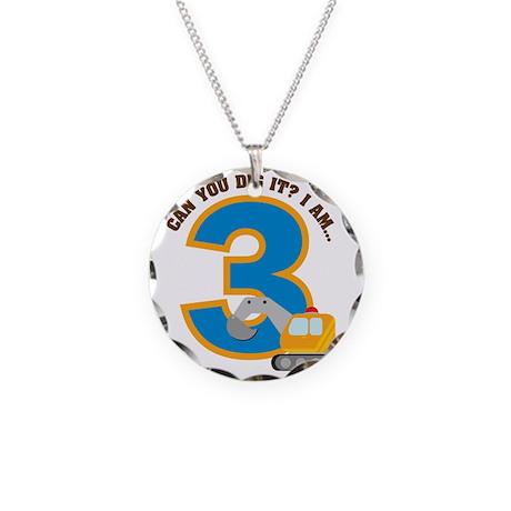 Digger3rdBirthday Necklace Circle Charm