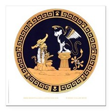 "Oedipus and the Sphinx T Square Car Magnet 3"" x 3"""
