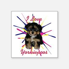 """iloveyorkiepoos Square Sticker 3"""" x 3"""""""