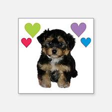 """yorkiepoo_colorhearts Square Sticker 3"""" x 3"""""""