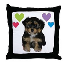 yorkiepoo_colorhearts Throw Pillow
