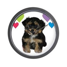 yorkiepoo_colorhearts Wall Clock