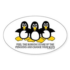 Burning Stare Penguins Oval Decal
