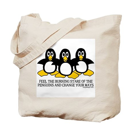 Burning Stare Penguins Tote Bag