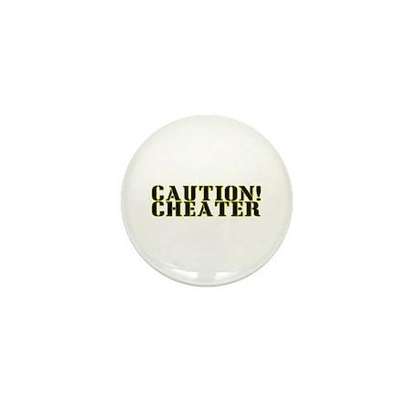 Caution! Cheater Mini Button