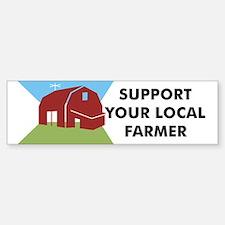 Support Your Local Farmer Bumper Car Car Sticker