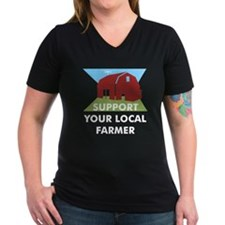 Support Your Local Farmer Women's V-Neck Dark Tee