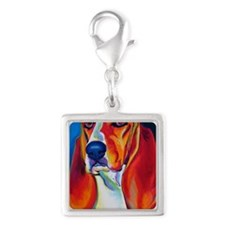 basset - Maple Silver Square Charm