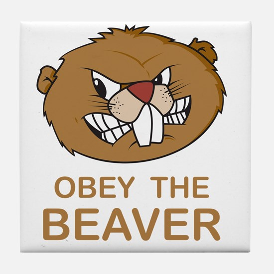 ObeyTheBeaver1Bk Tile Coaster