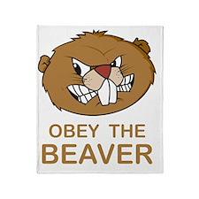 ObeyTheBeaver1Bk Throw Blanket