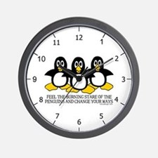 Burning Stare Penguins Wall Clock