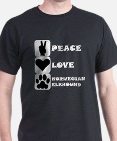 Peace Love Norwegian Elkhound T-Shirt