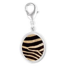 zebra black white Silver Oval Charm