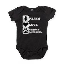 Peace Love German Shepherd Baby Bodysuit