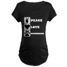 Peace Love Dachshund Maternity T-Shirt