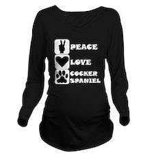Peace Love Cocker Spaniel Long Sleeve Maternity T-