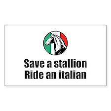 Save a Stallion Ride an Itali Sticker (Rectangular
