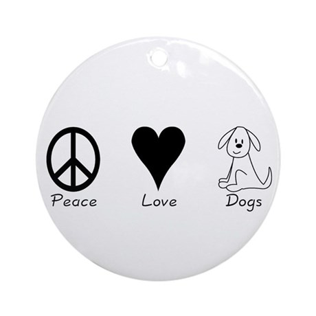 Peace Love Dogs Ornament (Round)