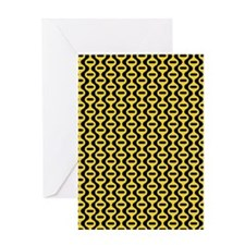 Yellow And Black Retro Pattern Greeting Cards