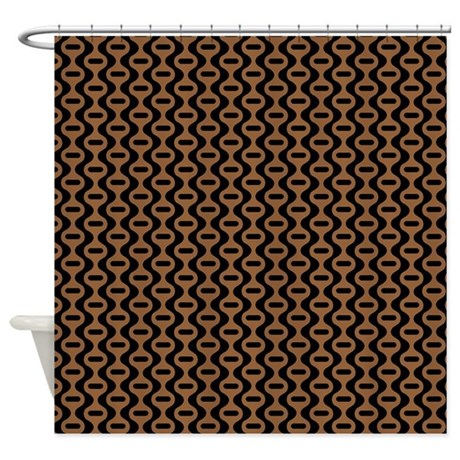Brown And Black Retro Pattern Shower Curtain By ColorfulPatterns
