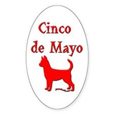 Cinco de Mayo Chihuahua Oval Decal
