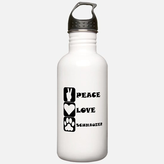 Peace Love Schnauzer Water Bottle