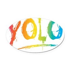 YOLO Bright Oval Car Magnet