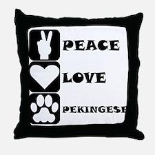 Peace Love Pekingese Throw Pillow