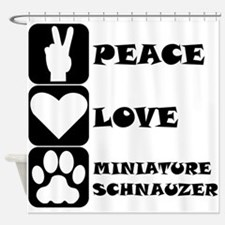 Peace Love Miniature Schnauzer Shower Curtain