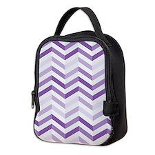 Cute Purple Zigzag Chevron Neoprene Lunch Bag