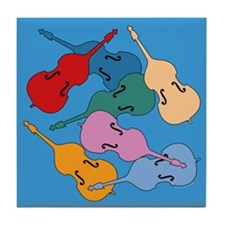 Colorful Double Basses - Tile Coaster