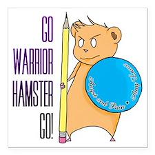 """Warrior Hamster Square Car Magnet 3"""" x 3"""""""