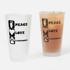 Peace Love Labradoodle Drinking Glass