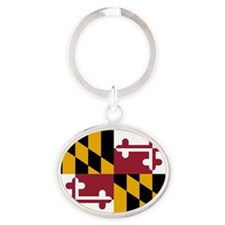 2000px-Flag_of_Maryland_svg Oval Keychain