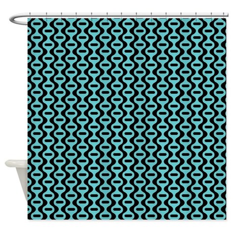 Blue And Black Retro Pattern Shower Curtain By