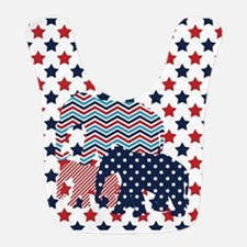 Red, White, And Blue Elephants Bib