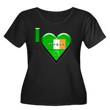 26+6=1 # Women's Plus Size Dark Scoop Neck T-Shirt