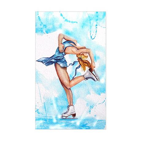 Blue Dream Ice Skater Rectangle Sticker