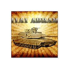 "Army Grunge Abrams Tank Pos Square Sticker 3"" x 3"""