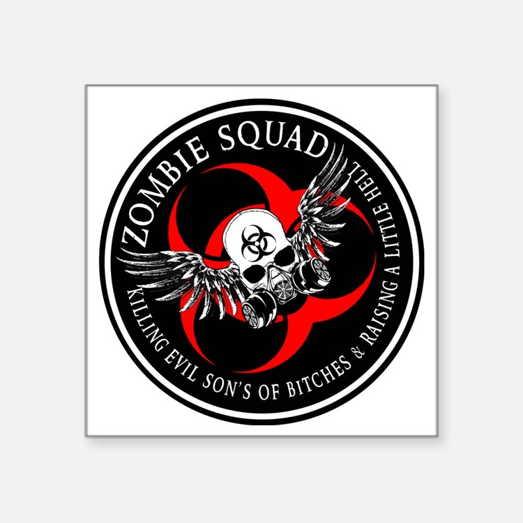 """Zombie Squad 3 Ring Patch R Square Sticker 3"""" x 3"""""""