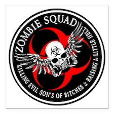 "Zombie Squad 3 Ring Patc Square Car Magnet 3"" x 3"""