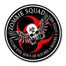 Zombie Squad 3 Ring Patch Revised Round Car Magnet