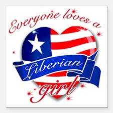 "liberia Square Car Magnet 3"" x 3"""