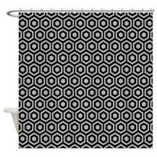 Black And Grey Honeycomb Shower Curtain