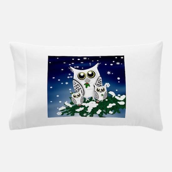 Christmas Snowy Owl family Pillow Case