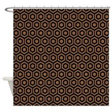 Black And Brown Honeycomb Shower Curtain