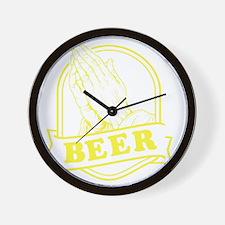 pray-beer-Y Wall Clock
