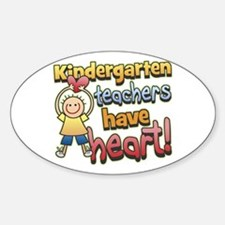 Kindergarten Teacher Heart Oval Decal