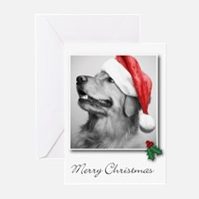 Golden Retriever Santa Greeting Cards (Package of