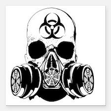 """Biohazard Zombie Skull Square Car Magnet 3"""" x 3"""""""